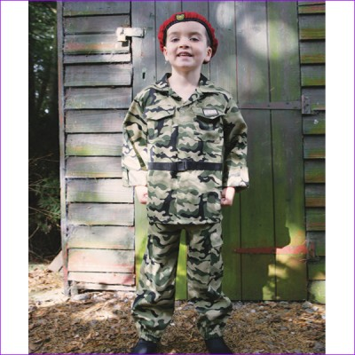 Boys Camo Solider Fancy Dress Costume