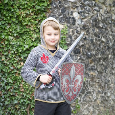 Boys Historical Knight Sword Tunic & Shield Fancy Dress Up Set Costume