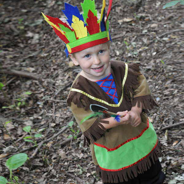 Boys Indian Chief Fancy Dress Up Costume with Headdress