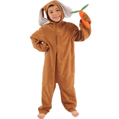Children's Boys and Girls Brown Hare / Rabbit with Carrot Easter Bunny Fancy Dress Up Costume