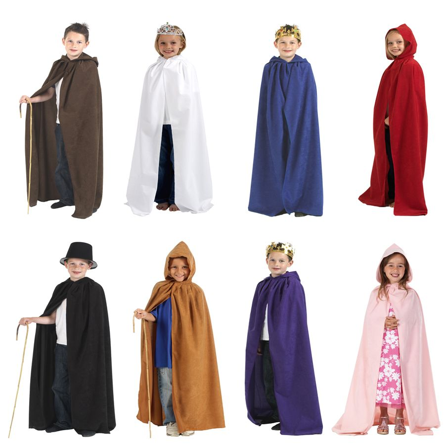 childrens boys and girls cloak robe cape with hood halloween fancy dress costume 7