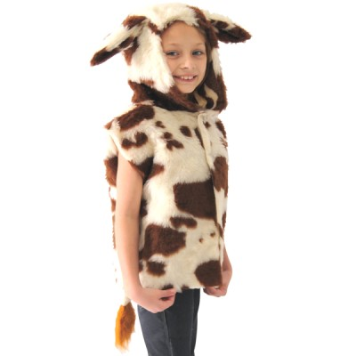 Children's Boys and Girls Fur Cow Nativity Tabard Costume
