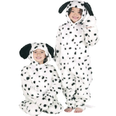 Children's Boys and Girls Fur Dalmatian Dog Fancy Dress Up Costume