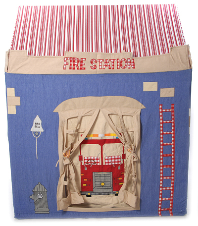 Children's Boys Large Win Green Fire Station Playhouse