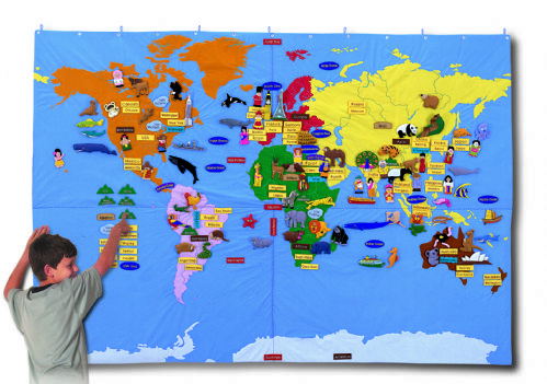 Children S Interactive Giant World Map - World map for kids room