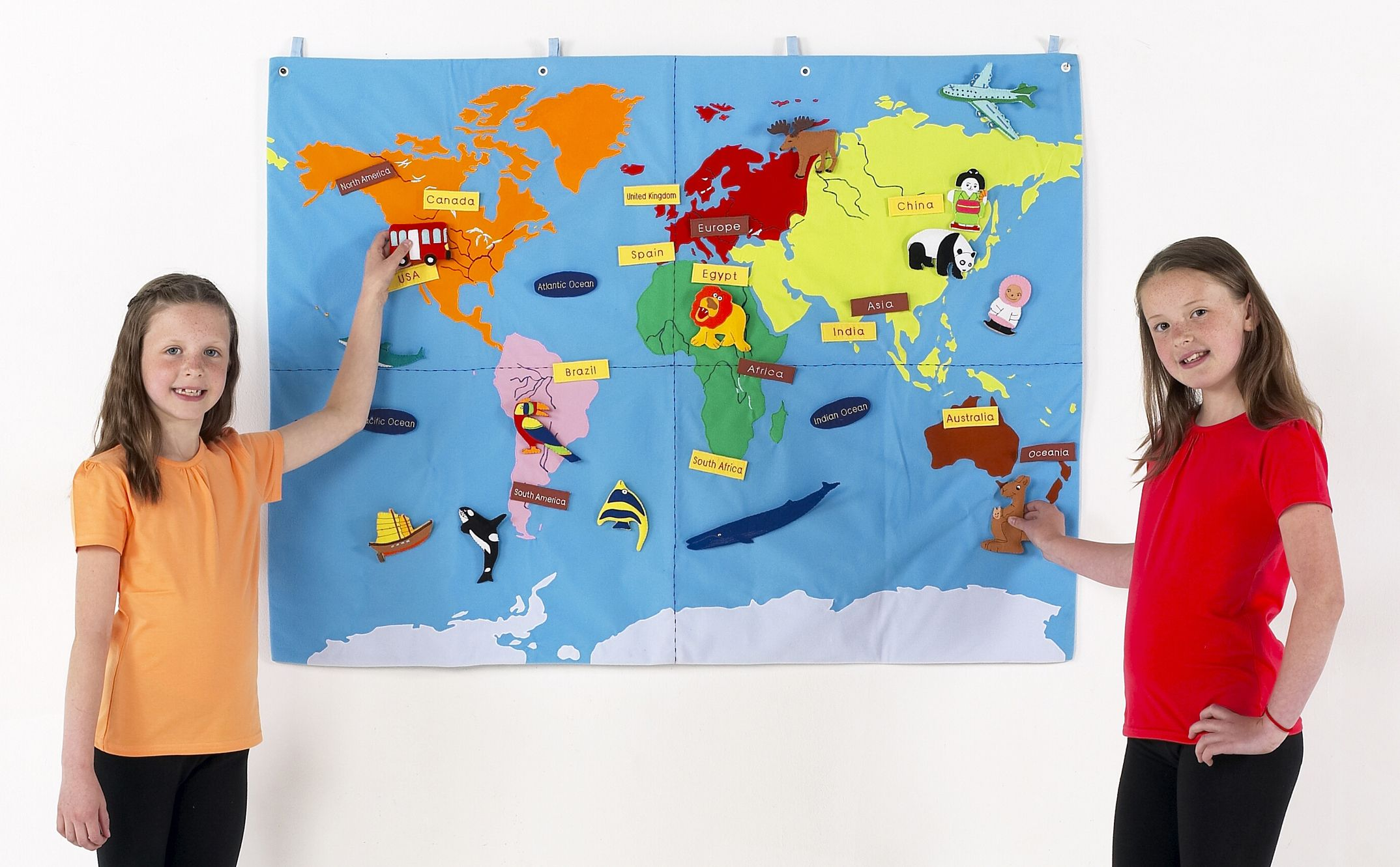 Children S Interactive World Map Cloth Wall Chart - Interactive map for children