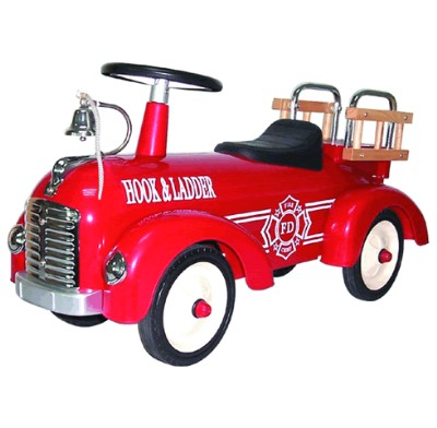 Children's Ride On Speedster Fire Engine Push Car - Great Gizmos
