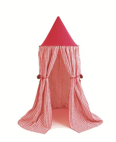 Children's Win Green Cherry Red Gingham Hanging Play Tent