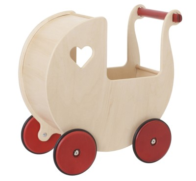 Children's Wooden Dolls Pram Natural - Moover Toys