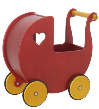 Children's Wooden Dolls Pram Red - Moover Toys