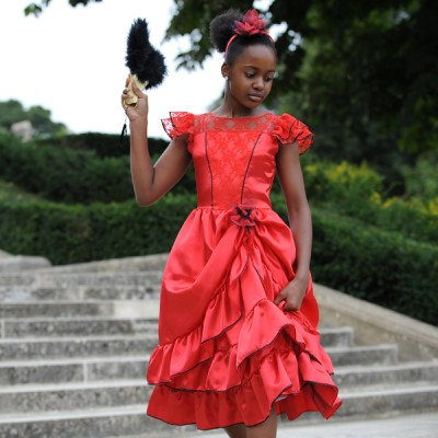 Girls  Dress on Girls Kids Children S Red Spanish Flamenco Rumba Dance Fancy Dress