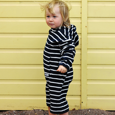 Mitty James Children's Baby Toddler Beachwear Beach Organic Romper Suit - Navy / White Stripe