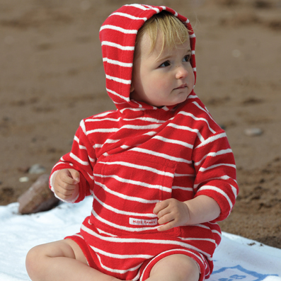 Mitty James Children's Baby Toddler Beachwear Beach Organic Romper Suit - Red / White Stripe