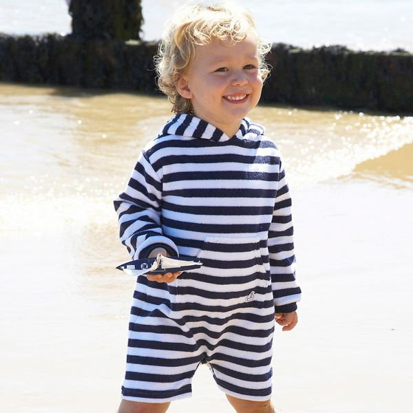 Mitty James Children's Baby Toddler Beachwear Beach Romper Suit Navy / White Stripe