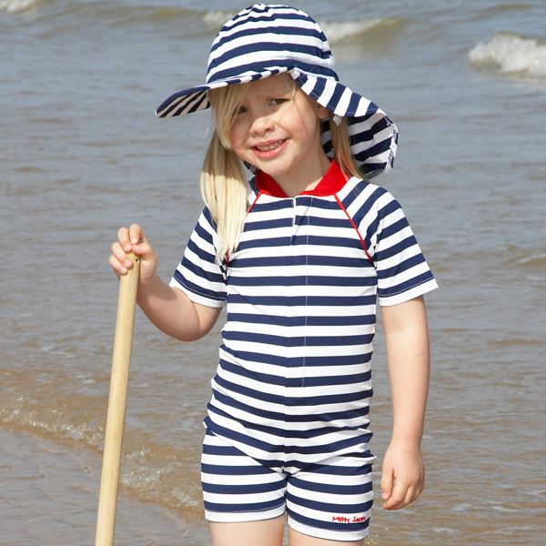 Mitty James Children's Baby Toddlers UPF 50+ UV Sun Protection All in One Suit - Navy / White Stripe