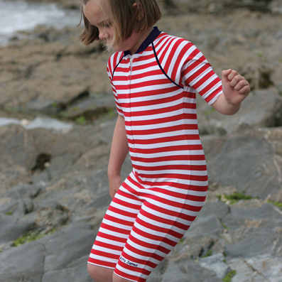 Mitty James Children's Baby Toddlers UPF 50+ UV Sun Protection All in One Suit - Red / White Stripe