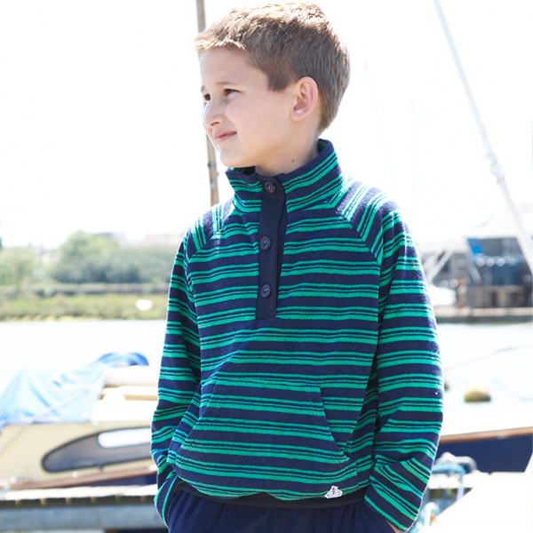 Mitty James Children's Boys Towelling Funnel Top Cover Up – Navy / Green Stripe