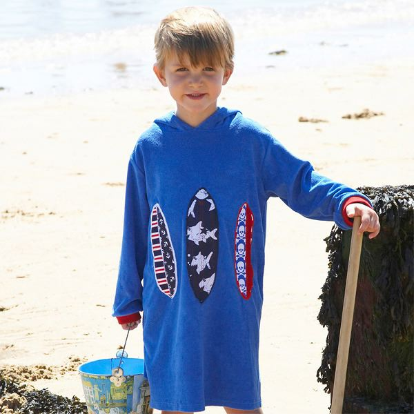Mitty James Children's Boys Towelling Long Hooded Beach Top – Appliqué Mid Blue Surfboard