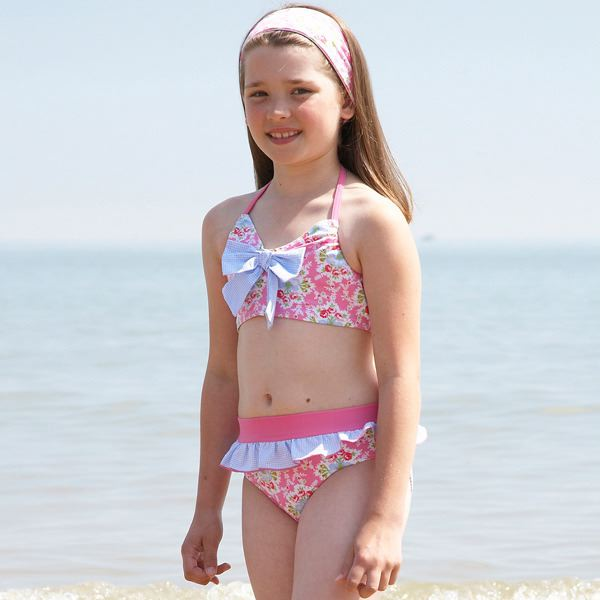 Mitty James Children's Girls Bikini Swimming Costume Swimwear Beachwear - Pink & Blue Floral Skirted