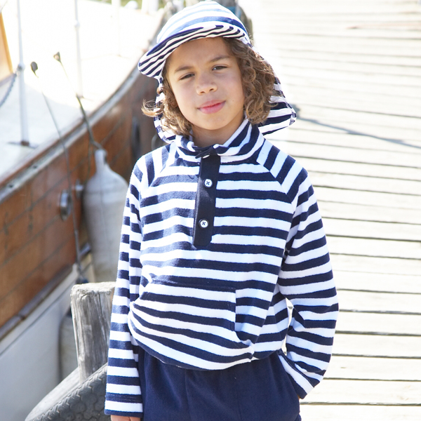 Mitty James Children's Girls & Boys Towelling Funnel Top Cover Up – Navy / White Stripe