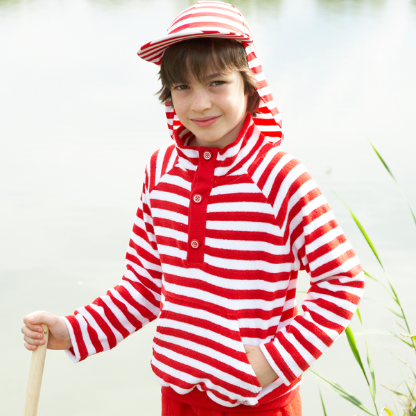 Mitty James Children's Girls & Boys Towelling Funnel Top Cover Up – Red / White Stripe