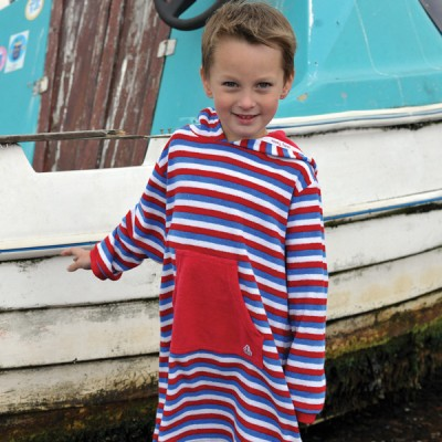 Mitty James Children's Girls & Boys Towelling Long Hooded Beach Top – Blue Multi