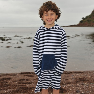 Mitty James Children's Girls & Boys Towelling Long Hooded Beach Top – Navy / White Stripe