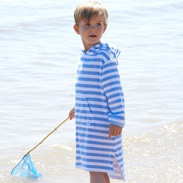 Mitty James Children's Girls & Boys Towelling Long Hooded Beach Top – Sky Blue / White Stripe