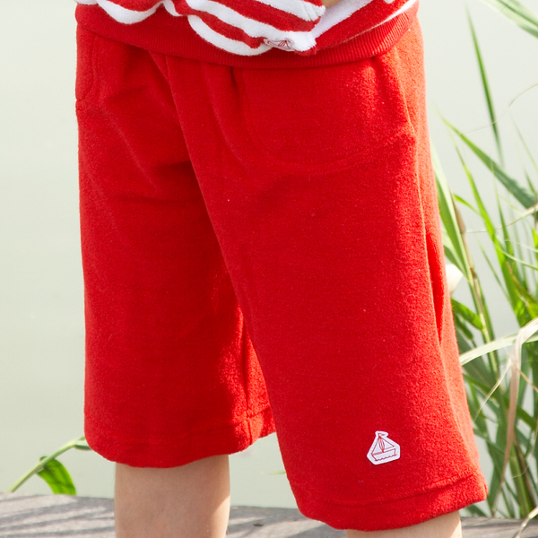 Mitty James Children's Girls & Boys Towelling Long Shorts with Pockets - Red Plain