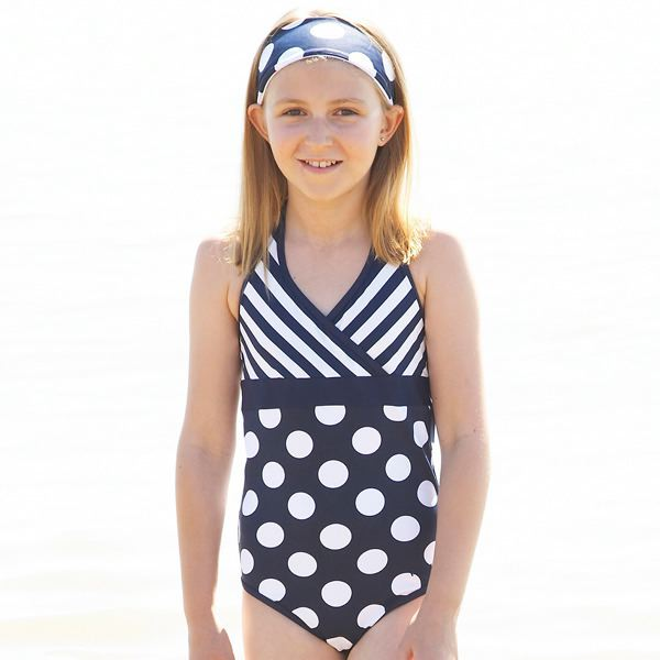 Mitty James Children's Girls Swimsuit Swimming Costume – Navy Stripe & White Spot Halter Neck
