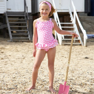Mitty James Children's Girls Swimwear Swimsuit Swimming Costume - Bubblegum Pink / White Spot