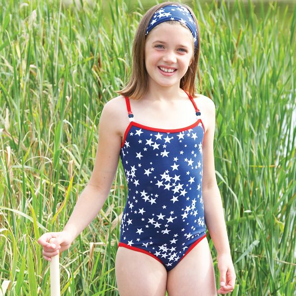 8d48df3678d08 Mitty James Childrenu0027s Girls Swimwear Swimsuit Swimming Costume - Navy  Starburst/Red Trim With Beads Sc 1 St Blyme.co.uk