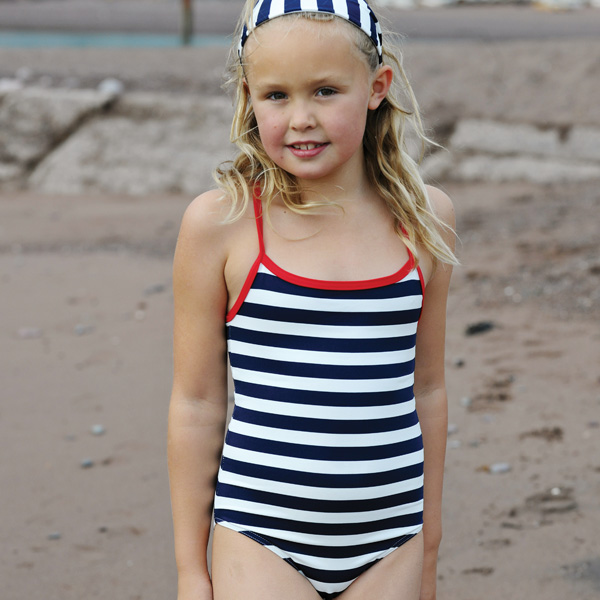 Mitty James Children's Girls Swimwear Swimsuit Swimming Costume – Navy / White Stripe