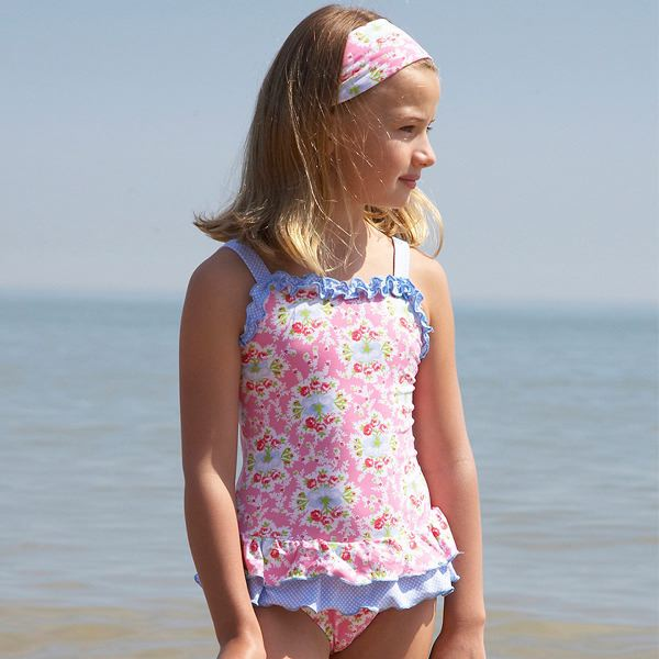 Mitty James Children's Girls Swimwear Swimsuit Swimming Costume – Pink & Blue Floral