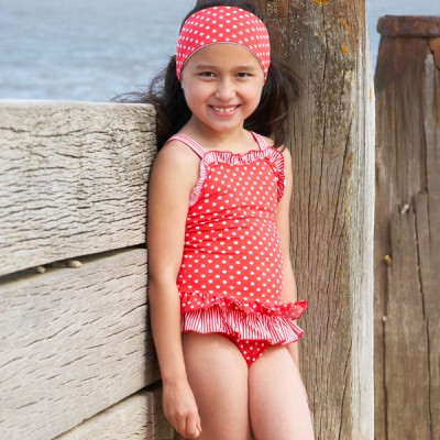 Mitty James Children's Girls Swimwear Swimsuit Swimming Costume - Red Spot / Striped Trim