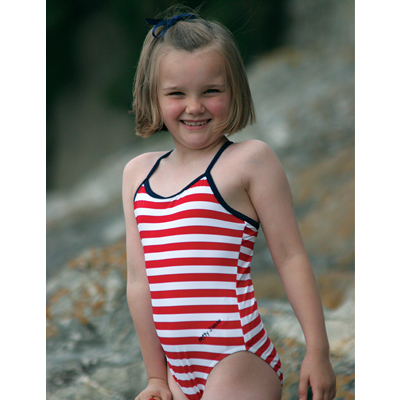 Mitty James Children's Girls Swimwear Swimsuit Swimming Costume – Red / White Stripe