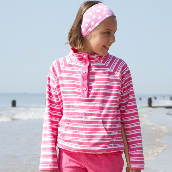 Mitty James Children's Girls Towelling Funnel Top Cover Up - Bubblegum Pink / White Stripe