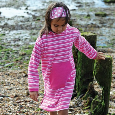 Mitty James Children's Girls Towelling Long Hooded Beach Top – Bubblegum Pink / White Stripe