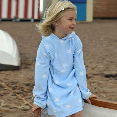 Mitty James Children's Girls Towelling Long Hooded Beach Top – Sky Stars Blue