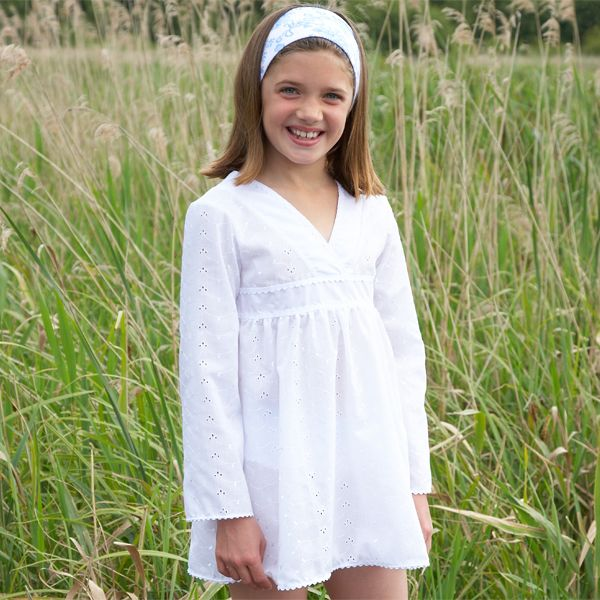 Mitty James Children's Kids Girls Cover Up Beachwear - White Broderie Cover Up Kaftan