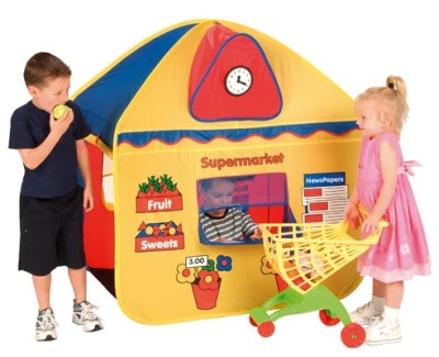 Pop Up Supermarket Shop and Post Office 2 in 1 Role Play House Tent