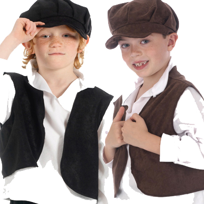 Children's Boys and Girls Brown & Black Victorian Urchin Waistcoat and Hat Fancy Dress Up Costume