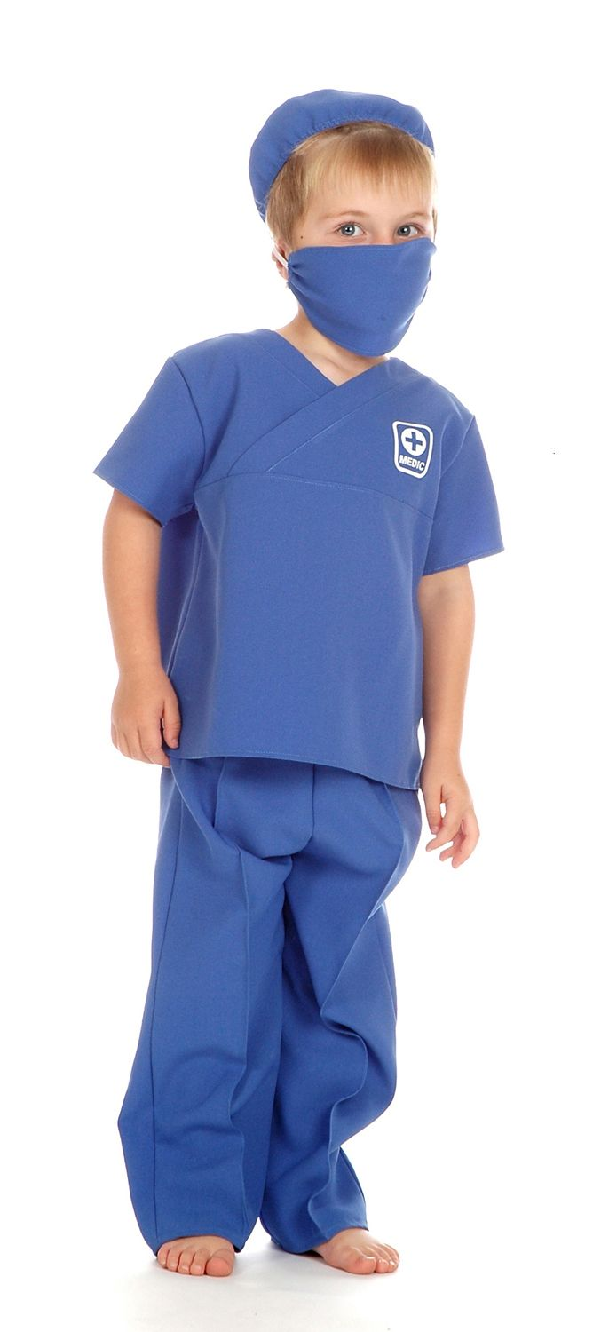 Children's Boys and Girls Male Nurse Doctor Surgeon Fancy Dress Up Costume