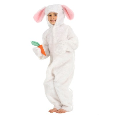 Children's Girls Fur White Rabbit with Carrot Easter Bunny Fancy Dress Up Costume