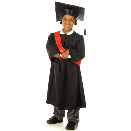 Children's Kids Boys Girls Graduation Gown & Cap Fancy Dress Up Costume Outfit