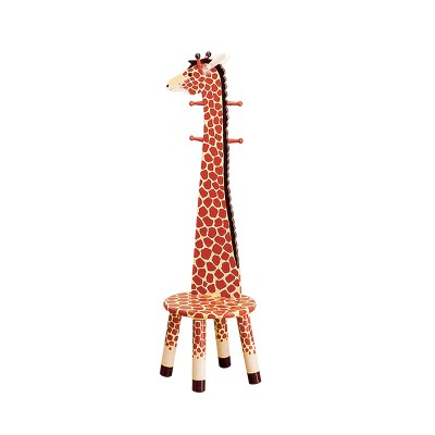 Children's Teamson Safari Giraffe High Backed Stool With Coat Rack