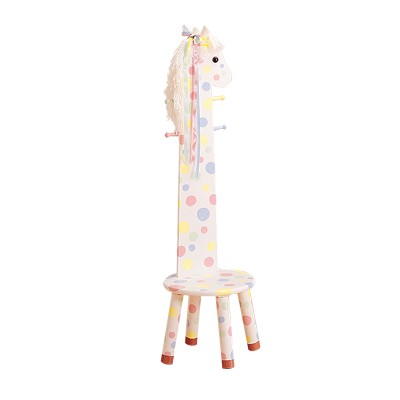 Children's Teamson Safari Pony High Backed Stool With Coat Rack