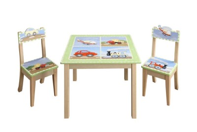Children's Teamson Transportation Table & Chairs Set