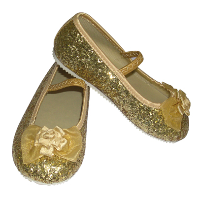 Girls Children's Sparkly Gold Glitter Bridesmaid Party Shoes