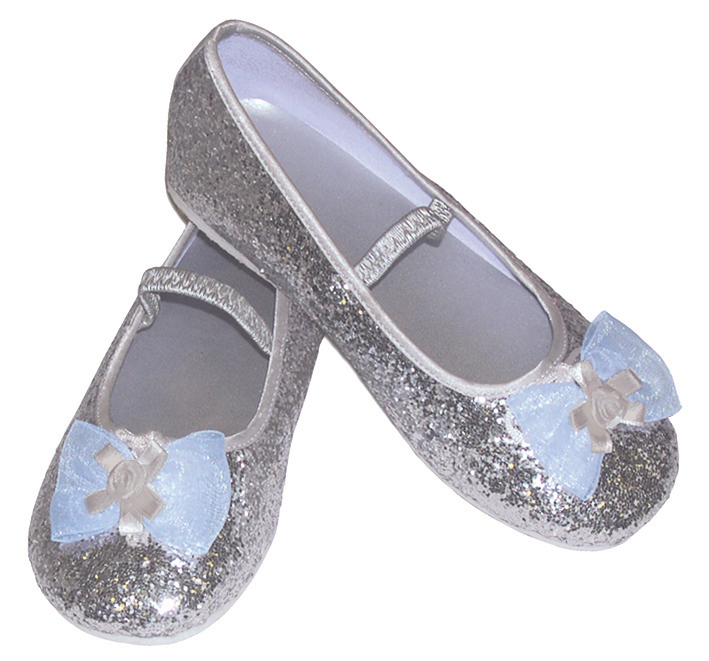Girls Children's Sparkly Silver Glitter Bridesmaid Party Shoes